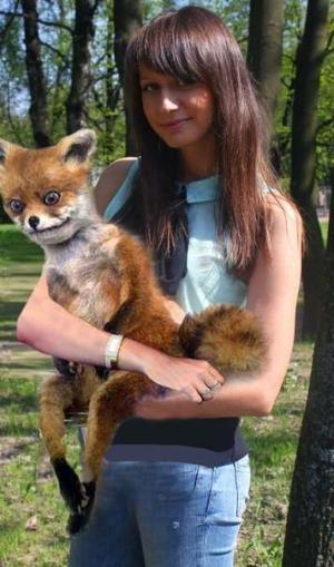 Упоротая лисица и девушка