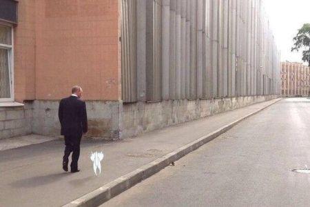 Кошак Путина на прогулке с ним