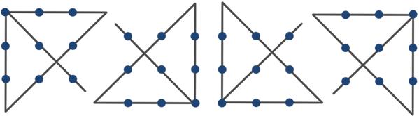 Решить 9 точек 4 линии
